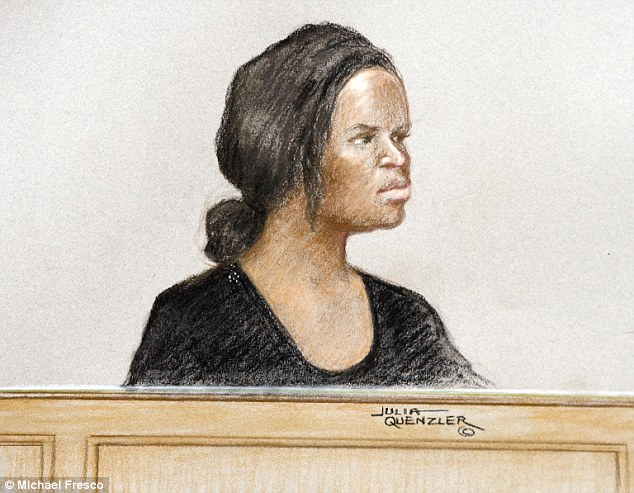 Mary Konye (pictured in court drawing), 21, stalked Naomi Oni from the lingerie store where she worked after her friend had likened her to monster from a horror film.