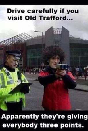 Making fun: As United's poor form continues, more and more jokes aimed at the Red Devils are going viral