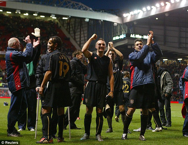 Shock: Exeter held United to a draw in 2005, the home side were booed off...