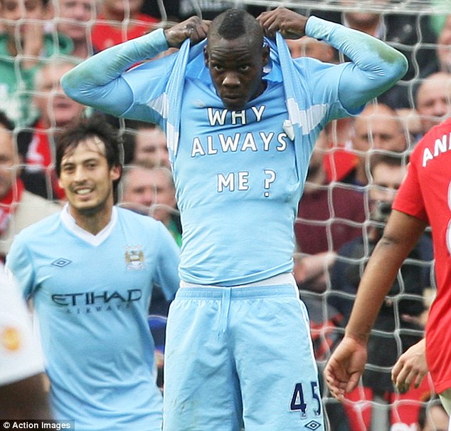 Why always me? Mario Balotelli reveals his message as he scores twice at Old Trafford... Manchester City beat their rivals 6-1 that day