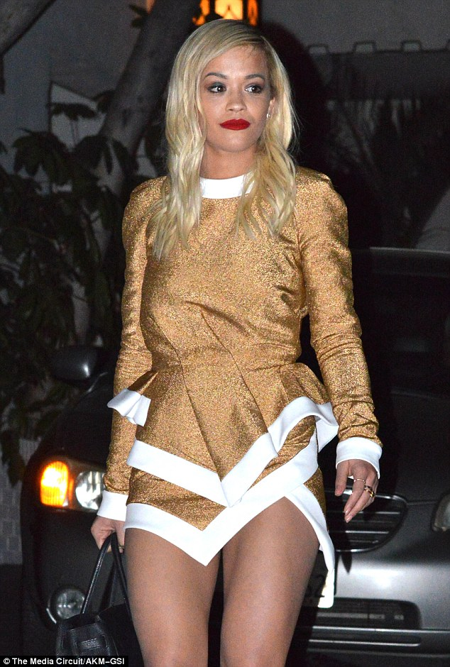 Rita looked radiant as she she left a pre-Grammy party held at Chateau Marmont