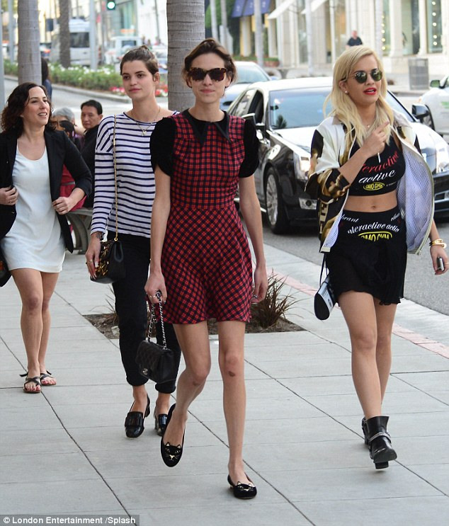 Fashion parade: Rita Ora strolled along next to Pixie Geldof and Alexa Chung on Rodeo Drive