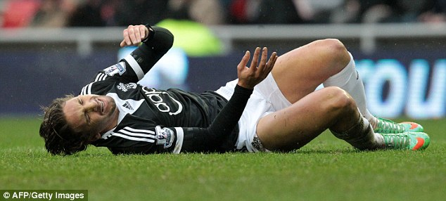 Down and out: Gaston Ramirez was taken off on a stretcher during Southampton's 2-2 draw at Sunderland last week