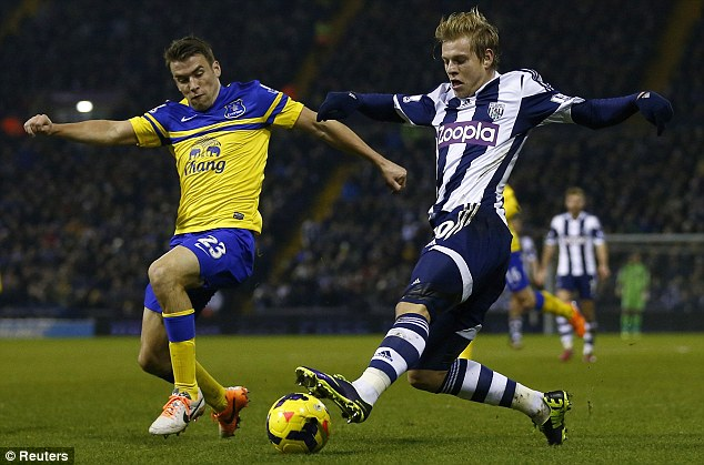 Time out: Seamus Coleman (left) is ruled out having suffered a minor injury during Everton's 1-1 draw at West Brom on Monday