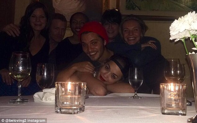 Chow down: Rita seen here with her 50 Shades Of Grey at a birthday dinner for castmate Luke Grimes