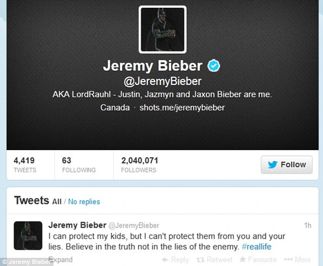 What does this mean?: Mr Bieber tweeted about the 'enemy' on Friday