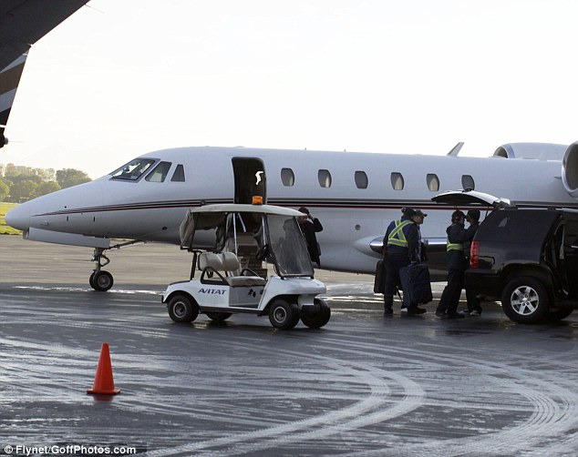 Flight to nowhere: Bieber's management team had a plane waiting (file picture showing a private jet Bieber was on back in 2010 in Vancouver)