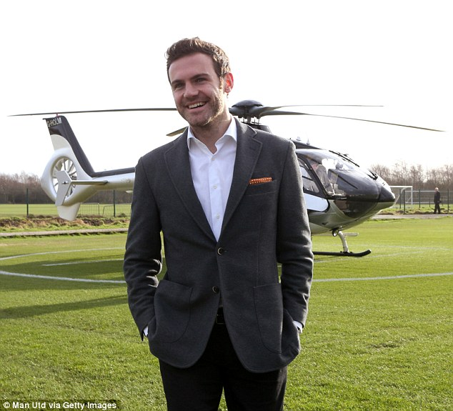 Touching down: Mata underwent a medical and finalised personal terms on his move from Chelsea