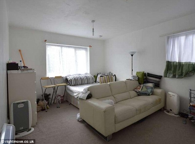 One room for everything: A double bed and sofa can be seen inside the studio flat in Thamesmead