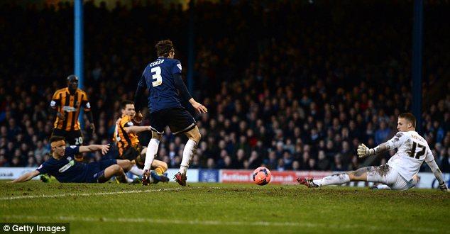 Cool finish: Striker Matty Fryatt scores the opening goal for Hull City against Southend