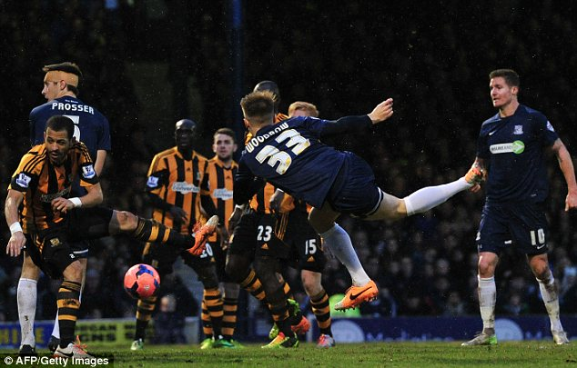 Attempt: Southend's Cauley Woodrow (C) has a shot against Hull