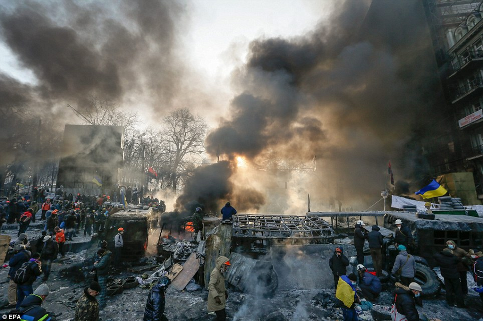 Spread: Protests have now spread into other parts of the country, including to some cities in the Russian-speaking east, the base of Yanukovych's support