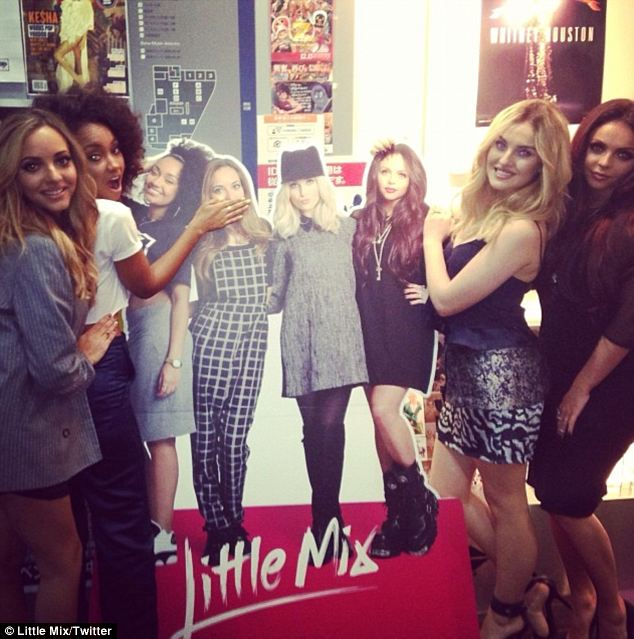 Look who they found! Little Mix pose with cardboard cut-outs in Japan
