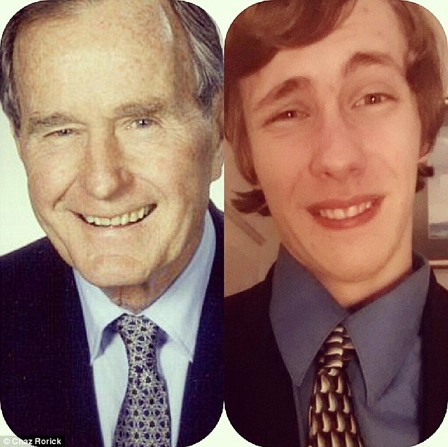 George H. W. Bush: Chaz Rorick is a bit younger than the former president but he's nailed the look here