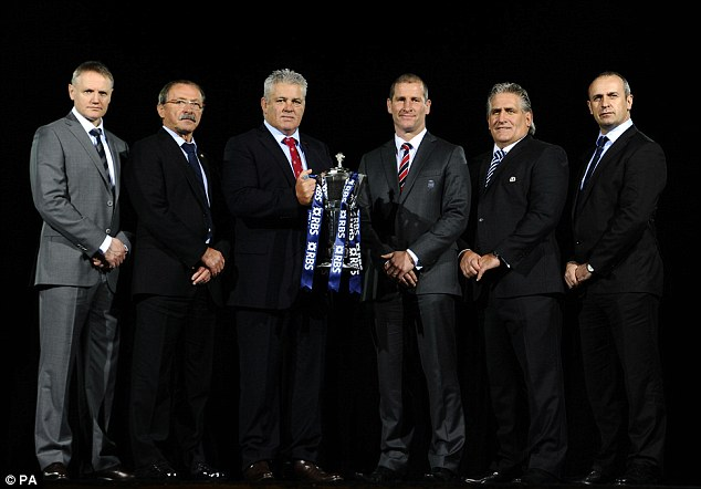 The coaches: (left to right) Ireland's Joe Schmidt, Italy's Jacques Brunel, Wales' Warren Gatland, England's Stuart Lancaster, Scotland's Scott Johnson, and France's Phillippe Saint-Andre