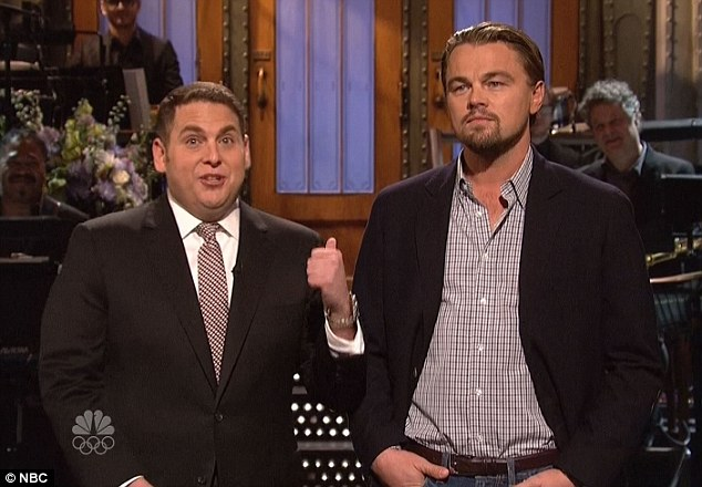 Awkward: in his opening monologue on SNL, Jonah Hill insults Leo, who he doesn't realise is waiting in the wings