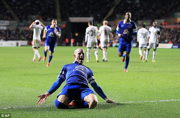 Repeat? Everton's Ross Barkley helped his side beat Swansea at the Liberty Stadium in December