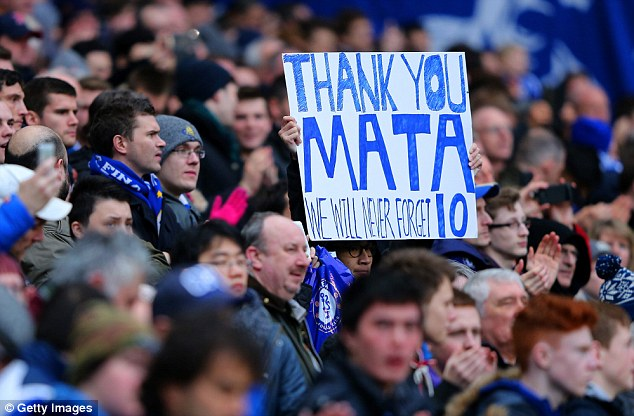 Adios: Chelsea fans paid tribute to the departed Spaniard during the Stoke match
