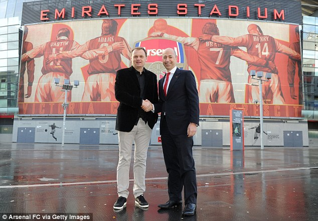 All smiles: Gazidis also confirmed that Arsene Wenger will be extending his contract at the club