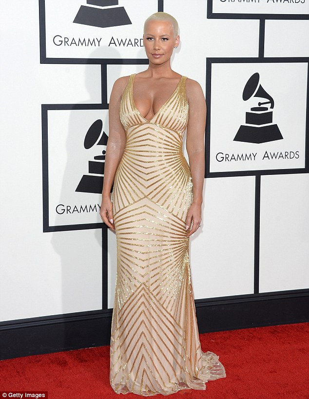 Glamorous: The 30-year-old kept things simple and classy at the event where she was to stand by Wiz Khalifa's side as he found out whether or not he won a Grammy
