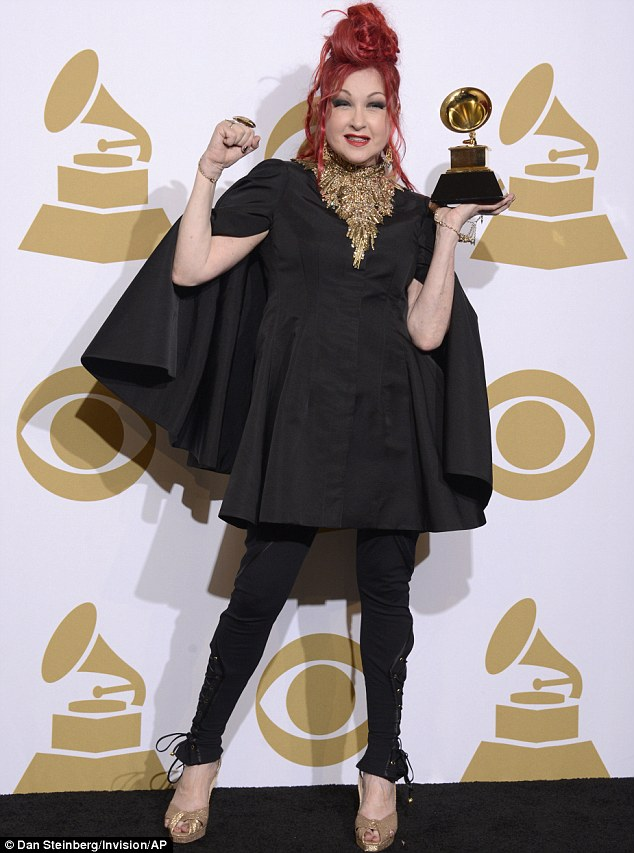 Jazz hands: Cyndi won the award for Best Musical Theater album for Kinky Boots at the awards bash