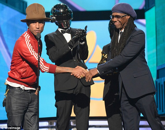 Winning streak: Pharrell Williams, Daft Punk's Thomas Bangalter and Guy-Manuel de Homem-Christo and Nile Rodgers accept an award for their hit Get Lucky