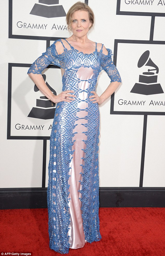 Not so jazzy: Jazz singer Tierney Sutton did not win any points for her embroidery embellished frock