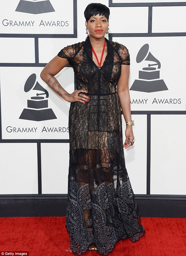 Lost in lace: Former Idol star Fantasia Barrio tried her hardest to keep up with the rest of the glamorous musicians