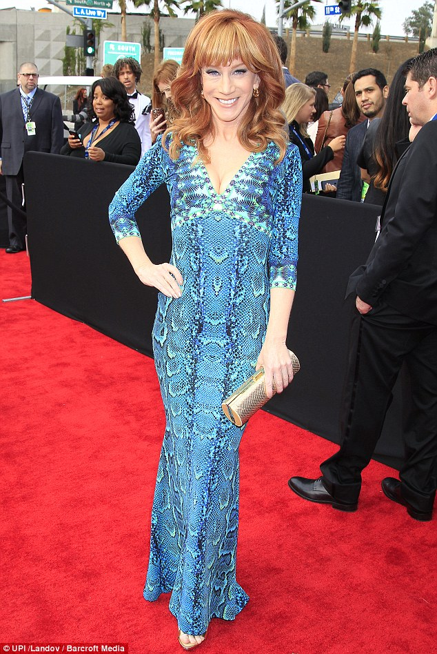 Frock fight: Put up a valiant style fight but just not winning the war was funny lady Kathy Griffin in a snake skin frock