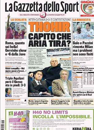 Integrity: Gazzetta dello Sport leads on comments from Inter Milan president Erick Thohir to the Juventus hierarchy over the Vucinic-Guarin deal