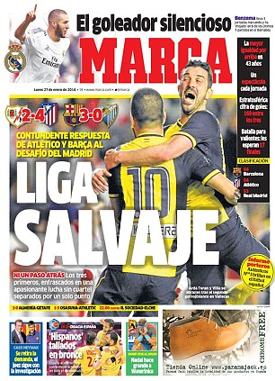 Three horse race: Marca, meanwhile, goers with Atletico Madrid's 4-2 win at Rayo Vallecano which kept them firmly in the title scrap
