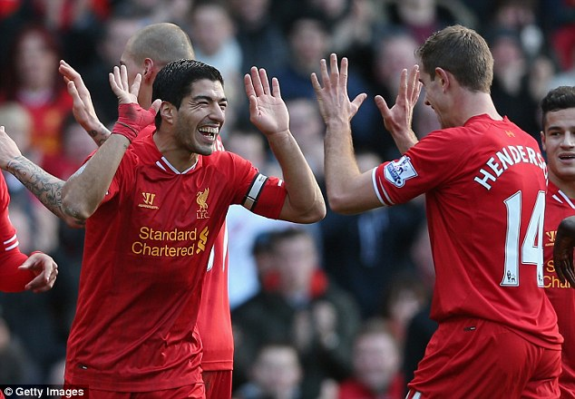 Up there: Liverpool are currently fourth in the Premier League table, eight points off the lead