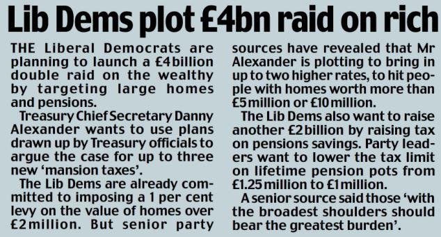 Lib Dems plot £4bn raid on rich