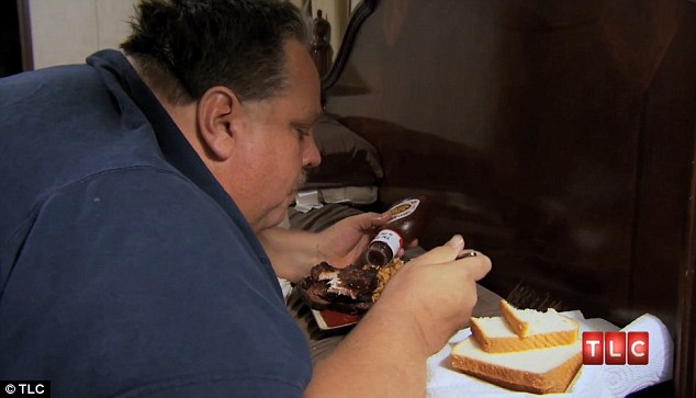 Bed-bound: Chuck is so incapacitated by his weight, he must eat his meals in bed