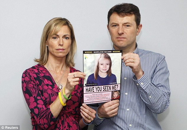 Anguish: Madeleine's parents Kate and Gerry with an image of how she may have looked in 2012