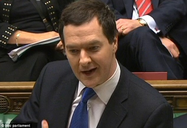 Chancellor George Osborne started by making the announcement about growth, adding naughtily: 'I'm sure this news will be welcomed on all sides of this House'