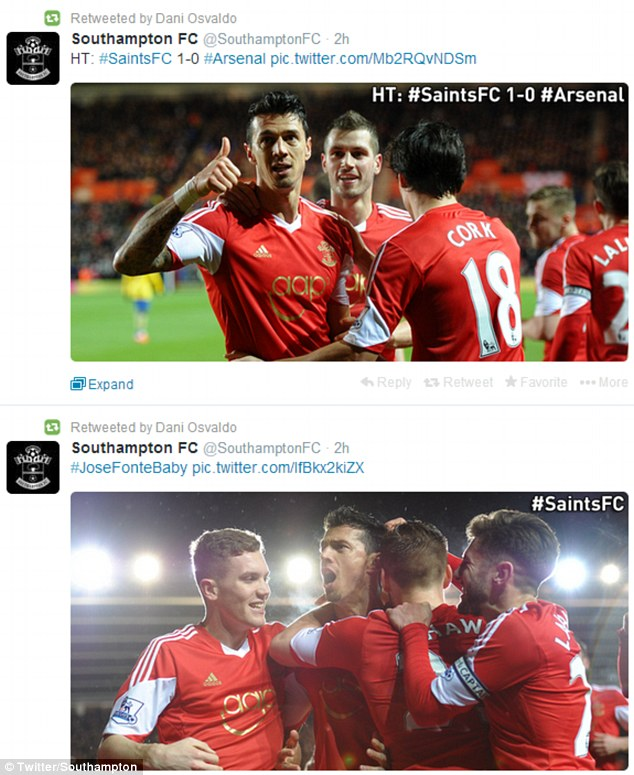 No hard feelings: Osvaldo posted four retweets relating to Fonte's goal