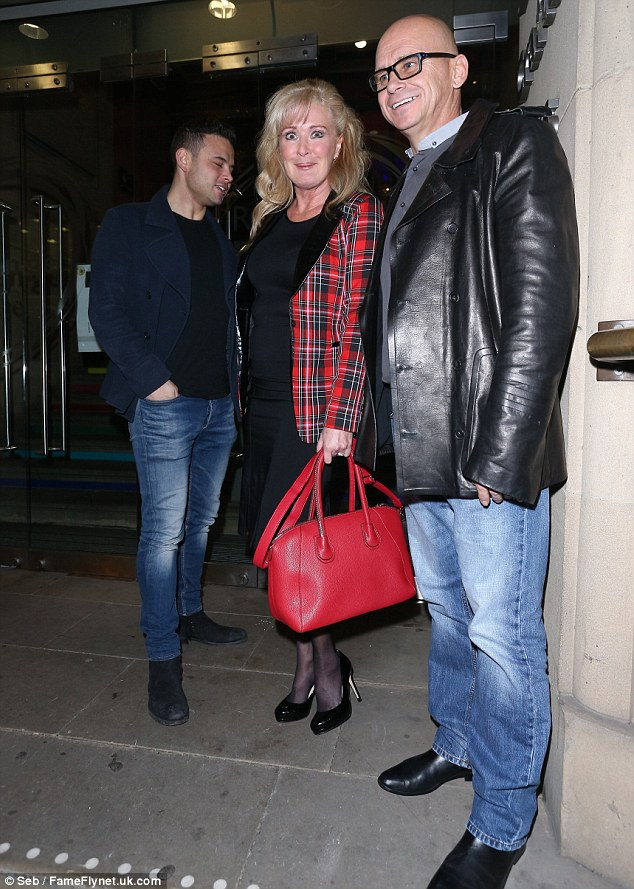 The stars line up! Ryan Thomas with Beverly Callard and husband outside the Royal Exchange Theatre