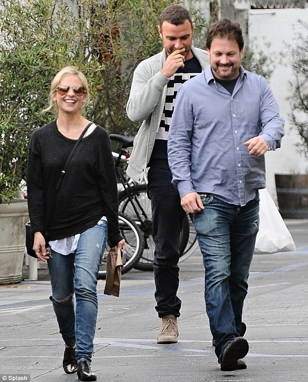 What's so funny? Sarah Michelle Gellar and Liev Schreiber were seen laughing together at the Brentwood Country Mart in Brentwood, California on Tuesday