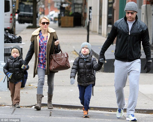 Family fun: Liev is frequently seen with his partner Naomi Watts, second left and their two sons Sasha and Sam
