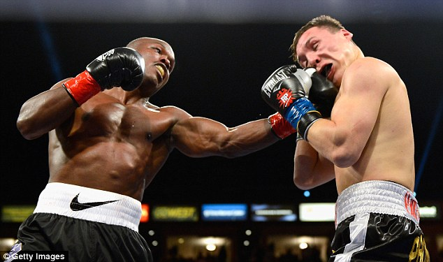 Toe-to-toe war: Timothy Bradley (left) defeated Ruslan Provodnikov in the Fight of the Year