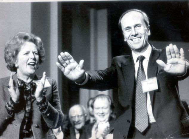 Dismissal: Lord Tebbit, pictured with Margaret Thatcher in 1985, said he presumed Labour was campaigning for an apology to get money from union Unite