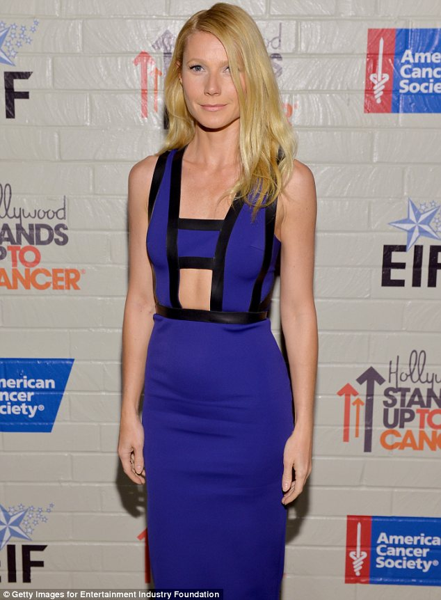 Racy: The cobalt blue frock was form-fitting and sexy but didn't exactly flatter the actress' rail-thin frame