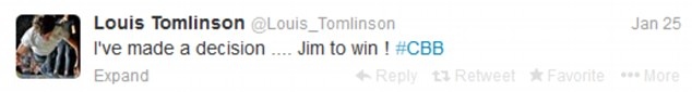 And another one: Niall's One Direction band mate Louis Tomlinson agrees he thinks Jim will win
