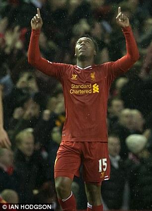 Daniel Sturridge celebrates his first and Liverpool's second goal