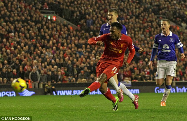 Missed chance: Sturridge ballooned his penalty over the bar as he failed to grab a hat-trick against Everton