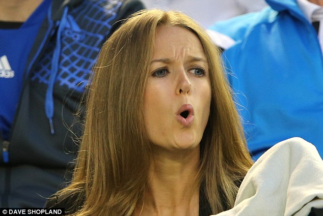 Every emotion: Kim looked as if she was playing every shot during Murray's Aussie Open final loss to Roger Federer