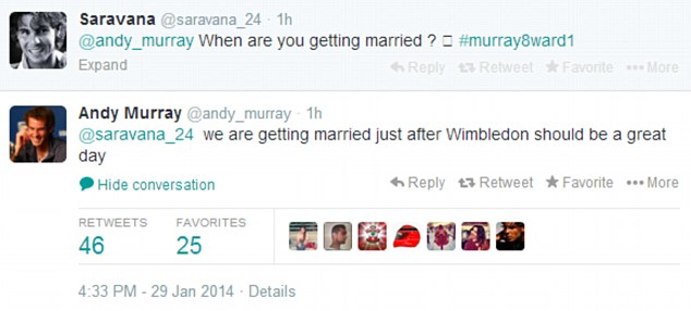 Hint: Andy Murray answered a fan's question about marriage in a Twitter Q&A