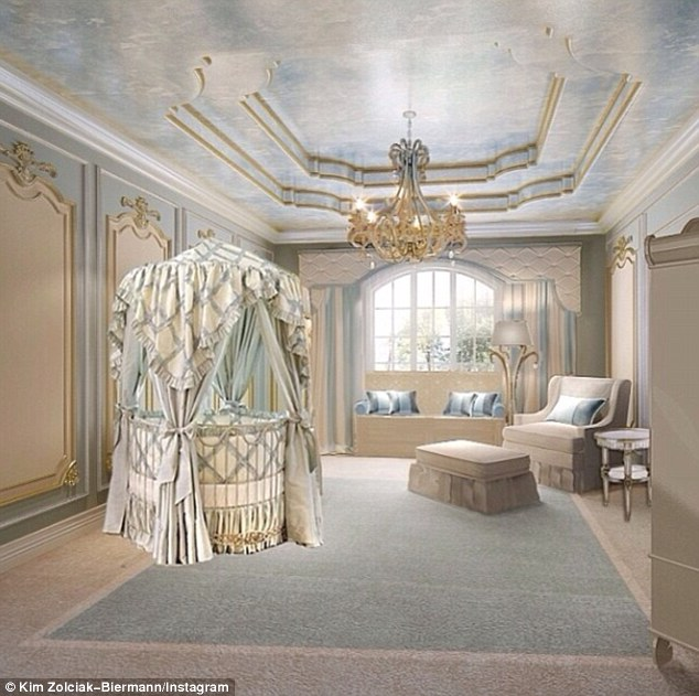 'Baby Kash's room!!! My favorite': The doting mom shared a photo of her 17-month-old's opulent bedroom, revealing his ornate gold and blue four-poster crib that perfectly matches the lavish furnishings, hand-painted walls and ceiling