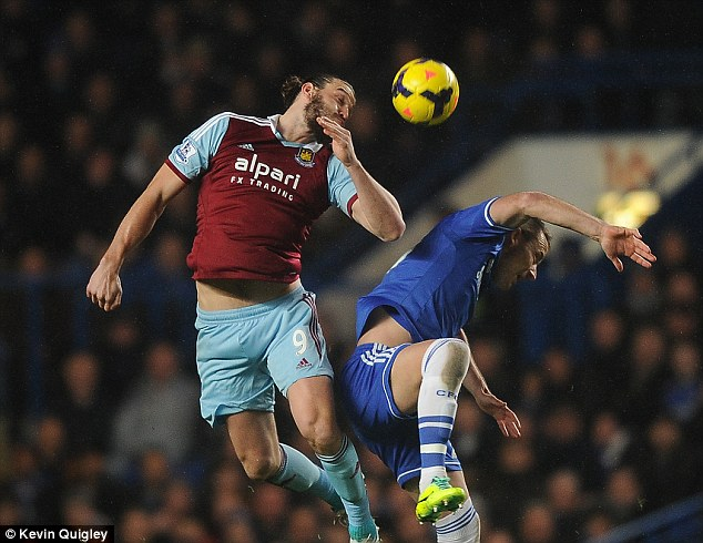 Battle of the powerhouses: Andy Carroll and John Terry tussle for the ball in the air